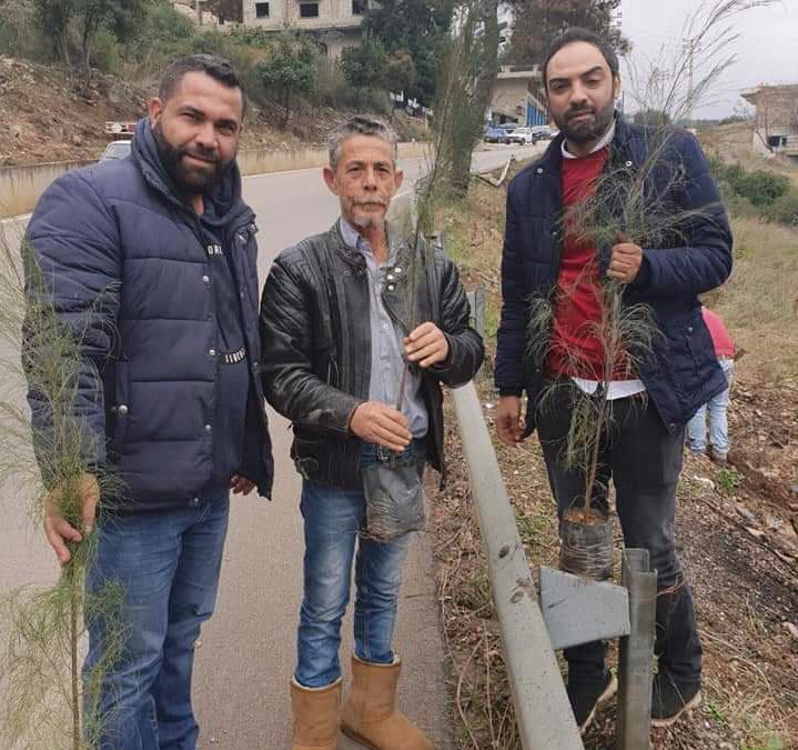 حملة تشجير في قبعيت بالتعاون مع البلدية