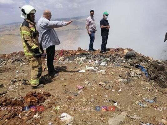 اطفاءالحريق في مكب النفايات التابع لبلدة شقرا
