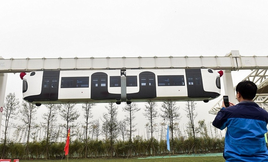 China's first 'sky train' suspension railway on track after tests successfully completed